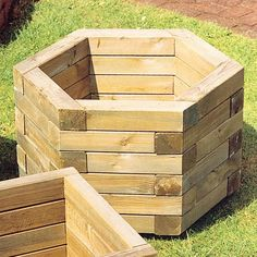 wood planters | ... FSC Hexagonal Wooden Garden Planter Large - Wooden Garden Planters