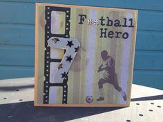 Football theme children's 7th birthday card, by CardTimes