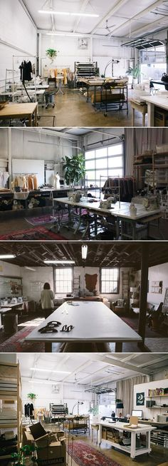 Elizabeth Suzann Studio love the large space. Looks like a steel building.