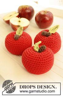 "Free pattern: Crochet DROPS apple in ""Paris"". Design amigurumi Ambrosia / DROPS Children - Free crochet patterns by DROPS Design Crochet Diy, Crochet Apple, Crochet Food, Crochet Kitchen, Love Crochet, Crochet Gifts, Crochet For Kids, Crochet Dolls, Crochet Flowers"