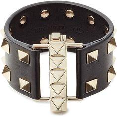 Valentino Leather Rockstud Cuff featuring polyvore, fashion, jewelry, bracelets, black, cuff jewelry, kohl jewelry, valentino jewelry, polish jewelry and black jewelry