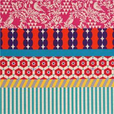 wide bird stripe echino poplin fabric gara pink orange