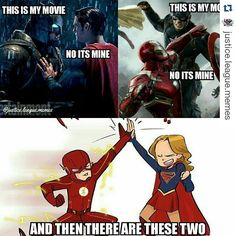 Lol fr @benaffleck (batman) and superman fight. @robertdowneyjr (Ironman) and captain America fight. Then there r @grantgust (flash) and @melissabenoist (supergirl) are friends lol
