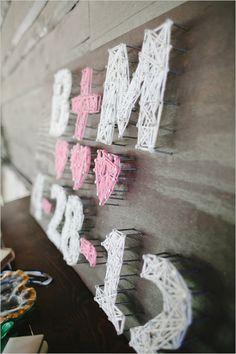 pin thread art initials & date for wedding