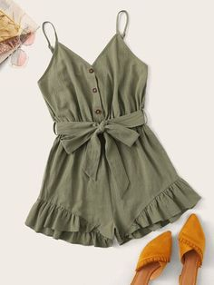 Button Front Ruffle Hem Belted Cami PlaysuitCheck out this Button Front Ruffle Hem Belted Cami Playsuit on Romwe and explore more to meet your fashion needs! Cute Girl Outfits, Cute Summer Outfits, Cute Casual Outfits, Pretty Outfits, Stylish Outfits, Girls Fashion Clothes, Teen Fashion Outfits, Cute Fashion, Look Fashion