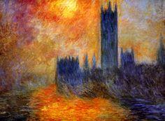 """House of Parliament Sun"" - Claude Monet"
