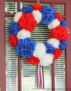 Puttin' on the G.R.I.T.S.: Red, White, and Blue Paper Flower Wreath
