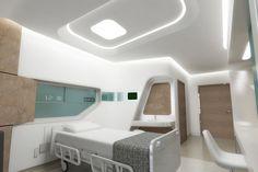 Medical room in the Alliance carrier Pharmacy Design, Medical Design, Healthcare Design, Spaceship Interior, Futuristic Interior, Modern Hospital, Interior Architecture, Interior Design, Hospital Room