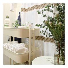 Bathroom,タオル収納,洗面所,シャワーカーテン,ユーカリ,IKEA,ワゴン ECCOの部屋