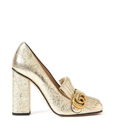 Impeccably crafted, Italian leather Marmont metallic laminate pumps from Gucci. Features fringe details and double G gold logo charm. Available in Gold Heels measure approximately 4 Composition: LeatherMade in High Heel Pumps, Pumps Heels, Metallic Pumps, Metallic Leather, Leather High Heels, Leather Shoes, Leather Fringe, Real Leather, Block Heel Shoes