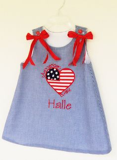 July 4th American Flag Heart blue gingham by MarcootBoutique, $35.00