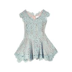 Imitation Madeleine Blue Lace Dress featuring polyvore, fashion, clothing, dresses, tops, vestidos, blue, women, blue cocktail dress, green lace cocktail dress, faux dress, green dress and applique dress