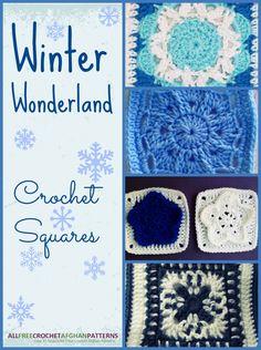 Winter Wonderland. Six free granny squares patterns by allfreecrochetafghanpatterns, thanks so xox