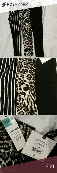 Little girls size 3 - 6 set of 3 leggings A&D You get all 3 pairs for your stylish princess. Black and white striped. Cheetah. Solid black.  Fits girls size 3 to 6.  Buttery soft. AGNES AND DORA Agnes & Dora Bottoms Leggings