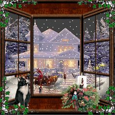 Stunning image - - from the clip art category animated Christmas Cards gifs & images! Christmas Scenes, Noel Christmas, Christmas Music, Vintage Christmas Cards, Christmas Images, Winter Christmas, Animated Christmas Pictures, Christmas Videos, Christmas Windows