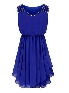 Plain Rhinestone V Neck Plus Size Flared Dress