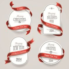 Red ribbon christmas cards design vector 01