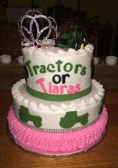 Tractors or Tiaras Baby Reveal Cake