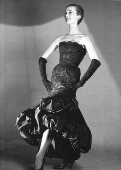 Mary Jane Russell wearing a strapless black lace and taffeta gown by Balenciaga 1951    Photo by Louise Dahl-Wolfe