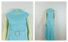 Vintage Dress 60s Sky Blue Formal Belted Gown Keyhole Peek-A-Boo Front Split Rhinestone Buckle Modern Size XL - XXL Plus Size 1X by 2sweet4wordsVintage on Etsy #vintagedress #plussize #plussizevintage #plusvintagedress #bluedress #belteddress #madmendress #2sweet4wordsDesigns Blue Dresses, Vintage Dresses, Plus Size Vintage, Color Shades, Peek A Boos, Belted Dress, Clothes For Sale, High Neck Dress, Short Sleeve Dresses