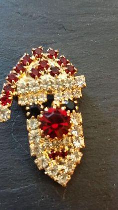 Santa rhinestone brooch vintage