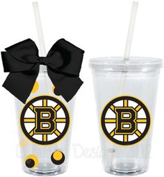 Boston Bruins Hockey Fan Inspired Personalized 16oz  Acrylic Tumbler. $15.00, via Etsy. -- I almost threw up when I saw this I got so excited. I LOVE IT!!!