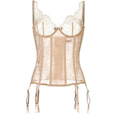 Maison Close 'Jardin Imperial' corset ($450) ❤ liked on Polyvore featuring intimates, shapewear and brown