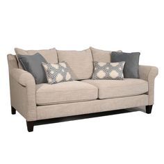 Create a clean and modern look for your living room decor with this San Sebastian sofa. The piece carries a nancy/slate fabric and features rolled arms, pillow back and loose seat cushion, each element adds to the overall comfort.