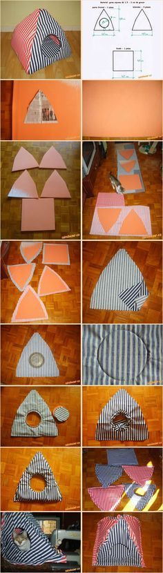 15 Super Fun DIY cat tent ideas to track # Diy Pour Chien, Diy Old Tshirts, Diy Cat Tent, Dog Tent, Cat House Diy, Animal Projects, Diy Bed, Cat Furniture, Pet Beds