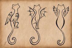 Winged cats trio - tattoo design by =AlviaAlcedo on deviantART