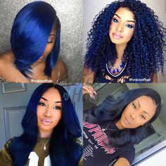 Blue Wigs Lace Hair Lace Frontal Wigs Pixie Wigs Wet And Wavy Frontal 360 Ponytail Wig Bold Hair Color, Hair Color For Black Hair, Hair Colors, Wedge Hairstyles, Afro Hairstyles, Black Hairstyles, Medium Hairstyles, Blue Hair Black Girl, Midnight Blue Hair