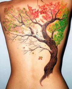 11 fall tattoo on back