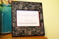 Black Lace 4X6 Picture Frame  Black and Red by CSomethingBeautiful, $12.00