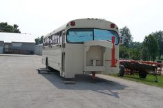 I have been thinking on what to do with this bus. I am wondering if I could buy an old travel trailer, get the stuff out of it I can use and then strip it to the frame, put the bus Bus Motorhome, Motorhome Conversions, Rv Bus, Truck Camper, Truck Flatbeds, Bug Out Trailer, Small Camping Trailer, Camping Car, Van Rv Conversion