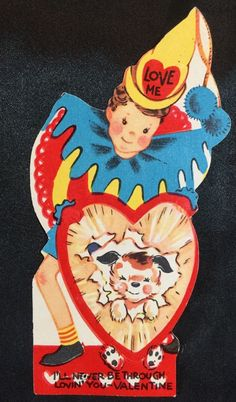 Die Cut Vintage Valentine Unused 1940s 1950s Great Color Circus Clown | eBay