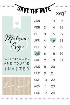Save the date trouwkaart voor bruiloft mer kalender, letterslinger, mint en kraft. Hip én stijlvol!