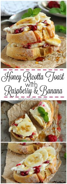 Honey Ricotta Toast with Raspberries and Banana; crunchy toast ...