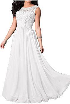4b09207545 Szmk Gki Bridesmaid Dresses Long Chiffon Prom Lace Appliques Evening Wedding  Party Gowns White Size 18       AMAZON BEST BUY     WeddingDress