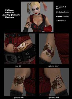 Harley Quinn's Tattoos by dnxpunk on DeviantArt Harley Quinn Halloween, Joker Und Harley Quinn, Harley Quinn Cosplay, Joker Cosplay, Harley Quinn Tattoo, Harley Costume, Gotham Girls, Arkham City, Marvel
