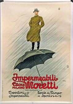 M<3 Impermeabili Moretti   Milano   advertising poster by Leopoldo Metlicovitz, 1925