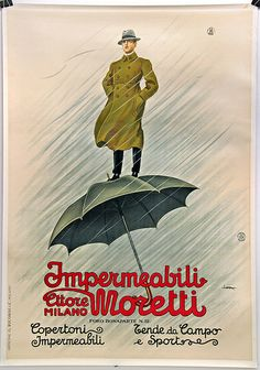 Impermeabili Moretti | Milano | advertising poster by Leopoldo Metlicovitz, 1925