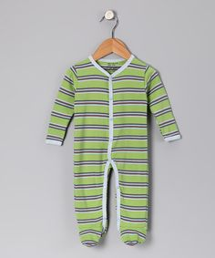 Take a look at this Max + Ella Green & Blue Stripe Organic Footie - Infant by Stripes & Brights: Infant Apparel on #zulily today!
