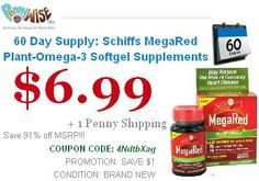 Save 91% 60 Day Supply: Schiffs MegaRed Plant-Omega-3 Softgel Supplements Model MegaRed Offer for today only..!! Hurry Up..!!