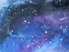 night sky art: blue watercolors, then sprinkle sea salt to make stars