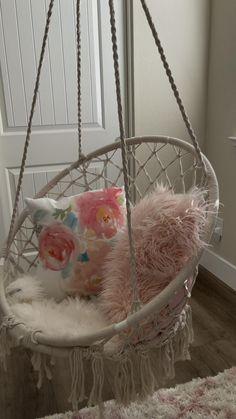 Little Girl Bedrooms, Bedroom For Girls Kids, Cool Teen Bedrooms, Kids Bedroom Designs, Room Design Bedroom, Room Ideas Bedroom, Room Decor, Swing Chair For Bedroom, Room Hammock