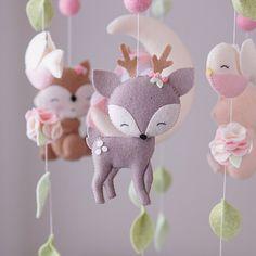 Chic Nursery, Girl Nursery, Nursery Decor, Pink Mobile, Felt Mobile, Baby Crib Mobile, Baby Mobiles, Baby Cribs, Woodland Mobile