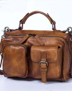 Genuine Leather Handbag Vintage Messenger Bag Crossbody Bag Shoulder Bag Purse For Women