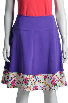 Klokkende rok katoenen tricot met een vintage polyester stof, Pop Rok
