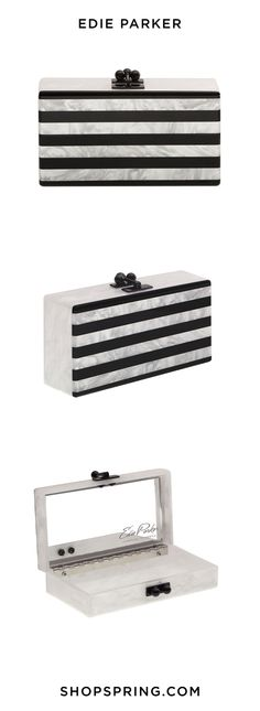Edie Parker's Striped Clutch is perfect for the holidays - no matter if you're staying up north or traveling to the tropics.