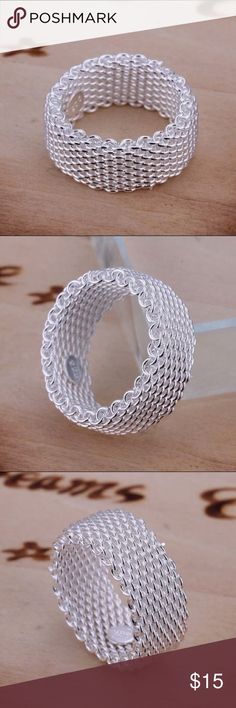 SALE ✨NEW Sterling Silver Mesh Band Ring PRICE FIRM UNLESS BUNDLED!  Who needs the blue box at this price?  Grab the look for less.  Sterling silver plated.  Thick 9cm wide band.  Runs 1/2 size small. Jewelry Rings